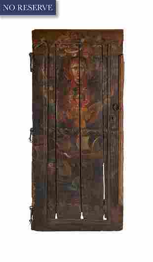 A SMALL ARMENIAN PAINTED WOODEN DOOR, 17TH-18TH CENTURY