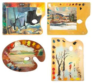 A GROUP OF FOUR 20TH CENTURY PAINTED ARTIST PALETTES,