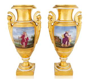 A PAIR OF OLD PARIS PORCELAIN VASES, LATE 19TH CENTURY