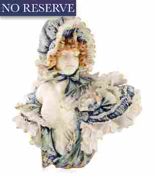 A PORCELAIN BUST OF YOUNG MAIDEN, TURN TEPLITZ BOHEMIA,