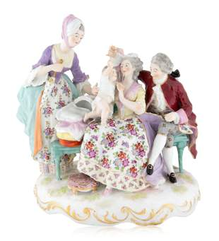 A MEISSEN PORCELAIN VICTORIAN FIGURAL GROUP, LATE