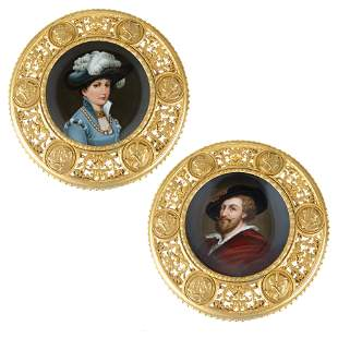 A PAIR OF CONTINENTAL PORCELAIN DISPLAY PLATES, 19TH