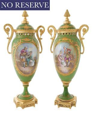PAIR OF ORMOLU-MOUNTED SEVRES STYLE VASES, GILLES, LATE