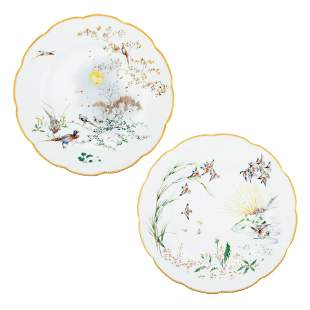 A PAIR OF FRENCH PORCELAIN PLATES, THE FOUR SEASONS