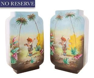 PAIR OF FRENCH TROPICAL VASES, CV & CO., LIMOGES