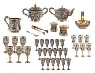 A 38-PIECE SOVIET SILVER AND NIELLO SERVICE, AFTER 1958