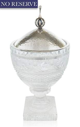 A GERMAN GLASS AND SILVER COVERED CANDY BOWL, 20TH