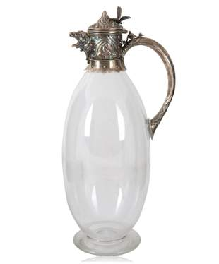 A SILVER PLATED AND GLASS PITCHER, WILLIAM EATON,