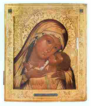 A RUSSIAN ICON OF THE VIRGIN OF TENDERNESS [ELEUSA] OF