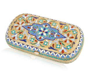 A RUSSIAN GILT SILVER, CLOISONNE AND GUILLOCHE ENAMEL