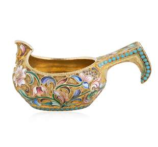 A RUSSIAN GILT SILVER AND SHADED CLOISONNE ENAMEL