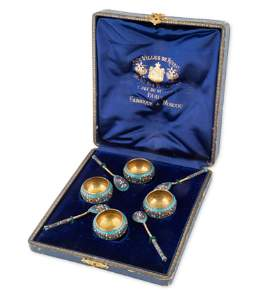 A SET OF FOUR RUSSIAN SILVER, ENAMEL AND CLOISONNE
