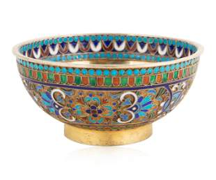 A RUSSIAN GILT SILVER AND CLOISSONE ENAMEL BOWL, MAKER