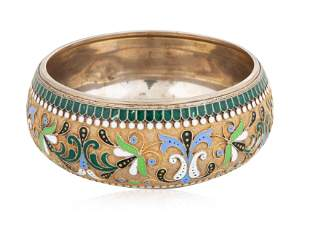 A RUSSIAN GILT SILVER AND CLOISONNE ENAMEL BOWL, MAKER
