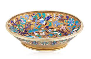 A RUSSIAN GILT SILVER AND CLOISONNE ENAMEL DISH, MAKER