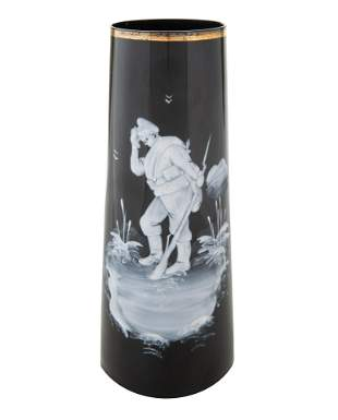 A RUSSIAN GLASS VASE WITH CRYING WWI SOLDIER, AFTER