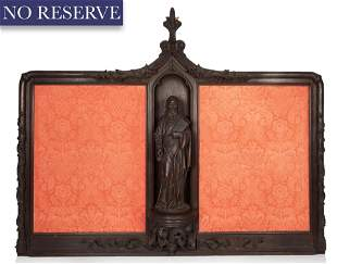 A CONTINENTAL WOODEN ALTAR PIECE WITH ST. PETER