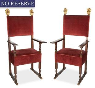 A PAIR OF ITALIAN GILT AND WOOD CARVED HIGH BACK