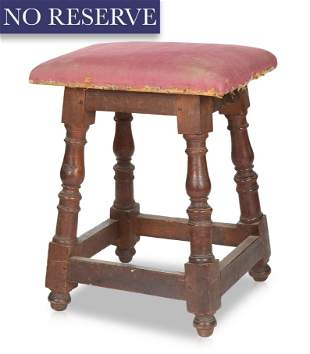 A SMALL WOOD AND UPHOLSTERED STOOL, 19TH CENTURY