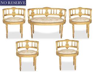 A NEOCLASSICAL CARVED GILT WOOD FIVE-PIECE PARLOR SET,