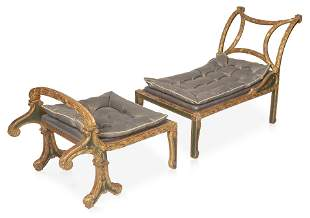 AN ITALIAN NEOCLASSICAL STYLE GILT AND VERDIGRIS LOUNGE