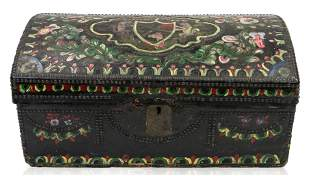 A POLYCHROME WOODEN TRUNK, SOUTH AMERICAN, LIKELY 18TH