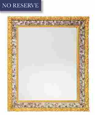 NEO-CLASSICAL STYLE RECTANGULAR FRAMED WALL MIRROR, 19T