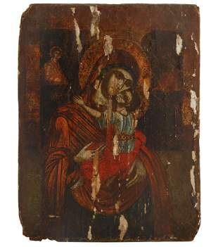A 17TH CENTURY GREEK ICON OF THE MOTHER OF GOD