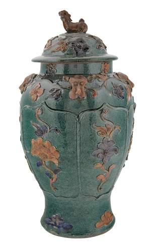 20TH CENTURY CHINESE SANCAI GLAZED EARTHENWARE JAR AND