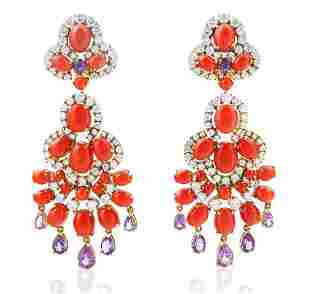 A PAIR VAN CLEEF AND ARPEL DIAMOND, CORAL AND AMETHYST