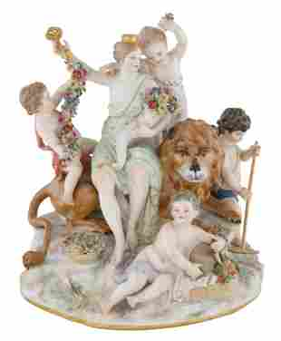 LATE 19TH CENTURY MEISSEN PORCELAIN FIGURAL GROUP OF