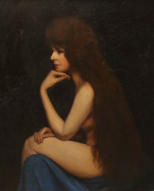 301: JEAN JACQUES HENNER b1829 Painting French Nude