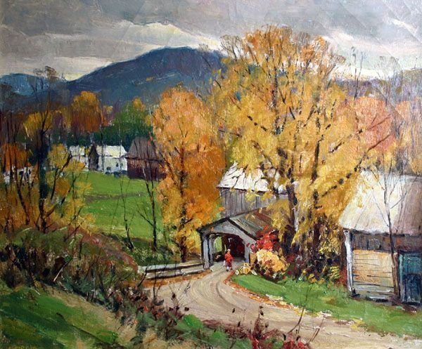 309: ANTONIO CIRINO b1889 Painting New England Village