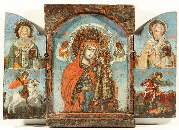 1: A GREEK TRIPTYCH ICON, probably 18th Century, the ce