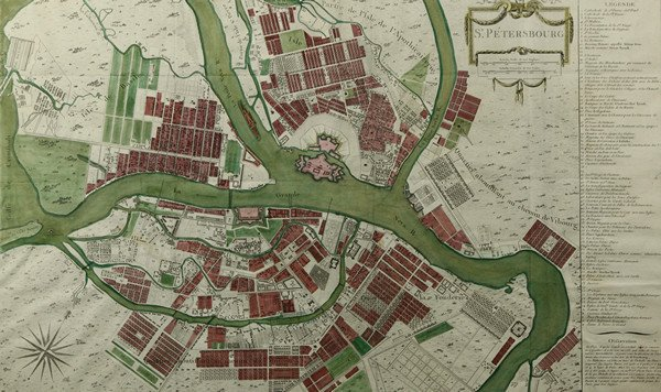 8: HAND-COLORED ENGRAVED MAP OF ST. PETERSBURG, c.1760,