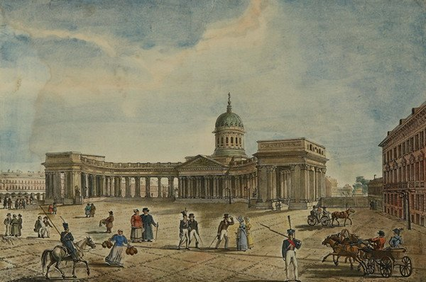 12: A HAND-COLORED RUSSIAN LITHOGRAPH, c.1830, depictin