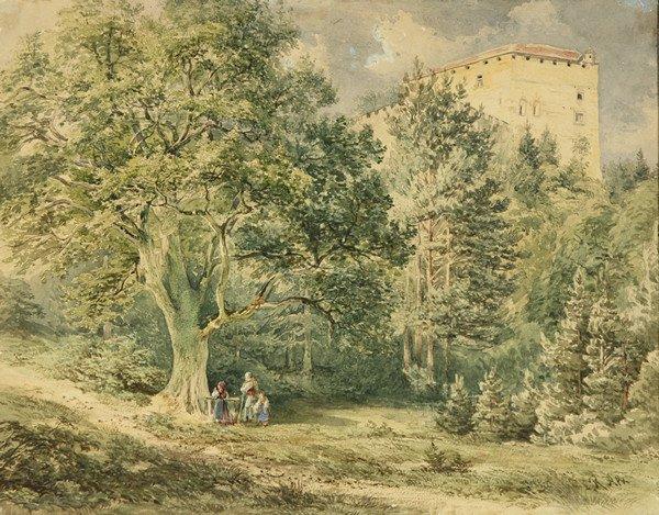 """19: RUDOLF VON ALT (AUSTRIAN 1812-1905), """"Peasants Pray"""