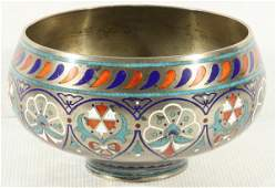 25 A RUSSIAN SILVER AND CHAMPLEV ENAMEL BOWL PAVEL O