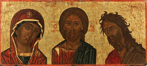 2: CRETAN ICON, DEISIS, 17th Century. Egg tempera, gold