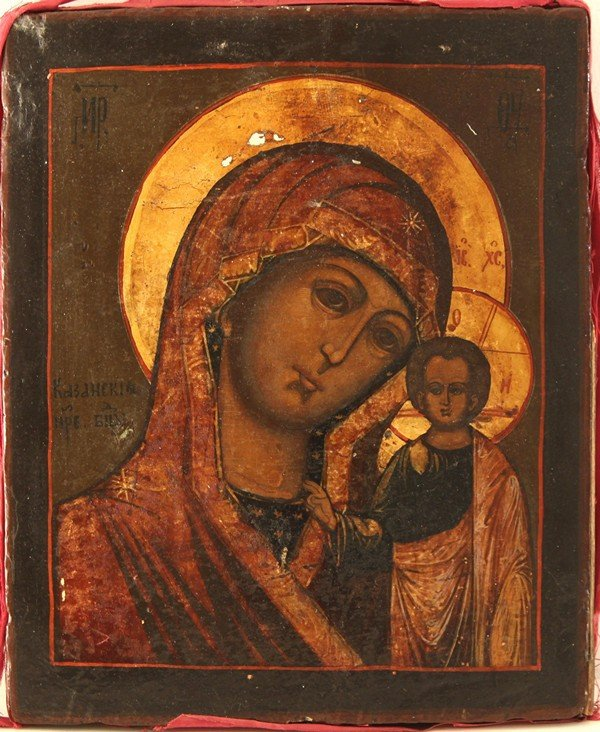 3: RUSSIAN ICON, KAZAN MOTHER OF GOD, 19th Century, Cen