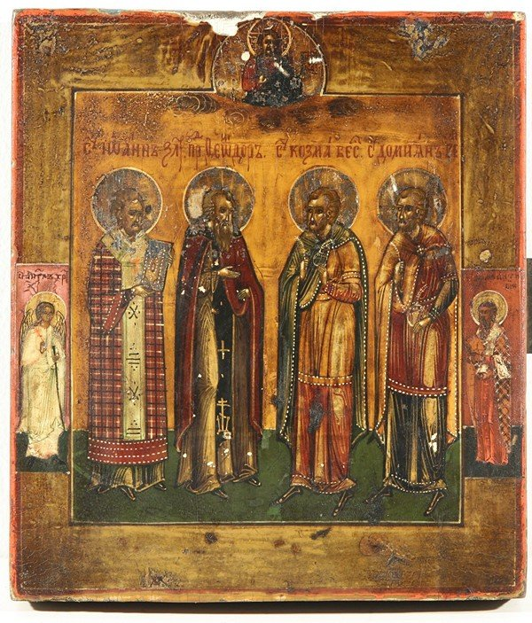 5: RUSSIAN ICON, FOUR SAINTS, 19th Century, Vladimir re