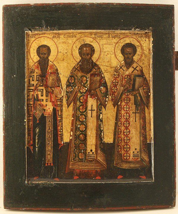 7: RUSSIAN ICON, THREE HOLY HIERARCHS, First half of th