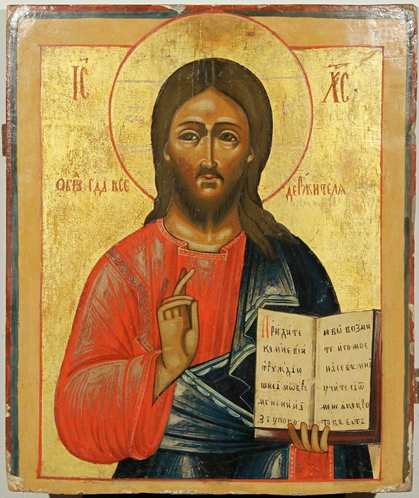 9: RUSSIAN ICON, CHRIST PANTOCRATOR, 19th Century, Volg