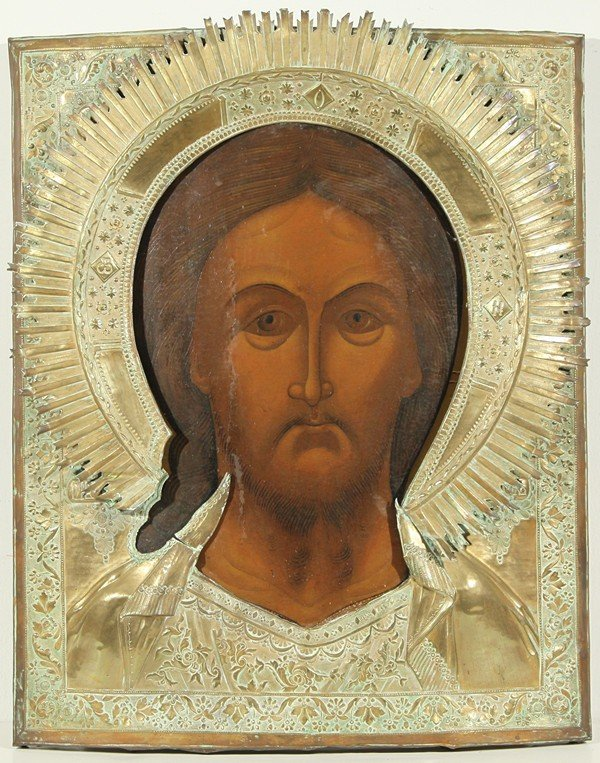 15: RUSSIAN ICON, CHRIST PANTOCRATOR, 19th Century, Mos