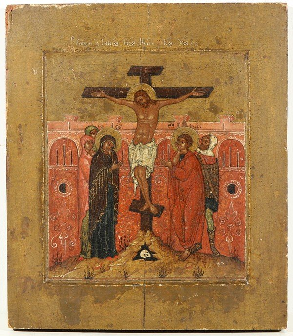 16: A GROUP OF THREE RUSSIAN ICONS OF THE CRUCIFIXION,