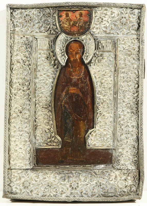 18: RUSSIAN ICON, VENERABLE KIRILL BELOOZERSKIY, 17th C