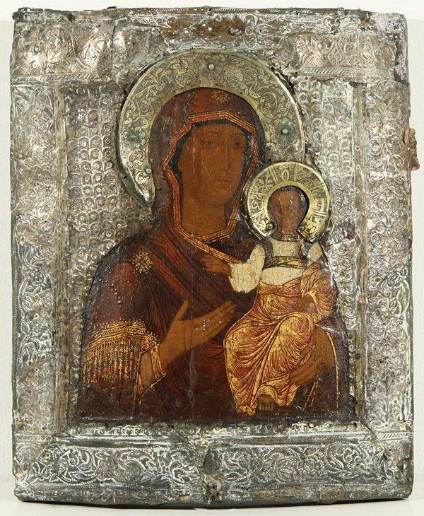 19: RUSSIAN ICON, THE HODIGITRIA MOTHER OF GOD, Late 16
