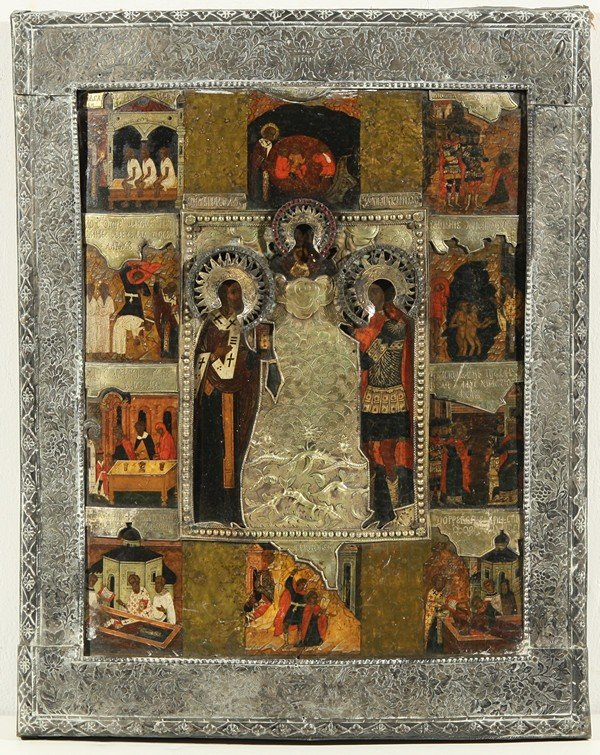 20: RUSSIAN ICON, ST NIKOLAI CHUDOTVORETS AND ST. CHRIS