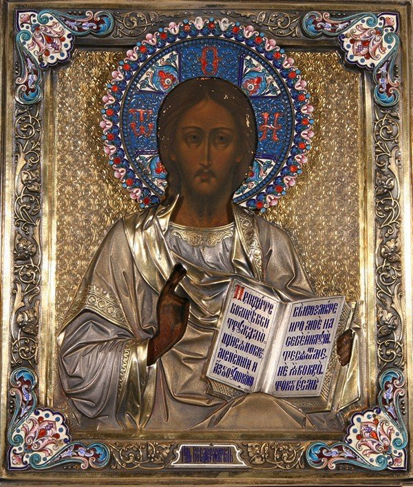 ANTIQUE RUSSIAN ENAMEL ICON CHRIST PANTOCRATOR