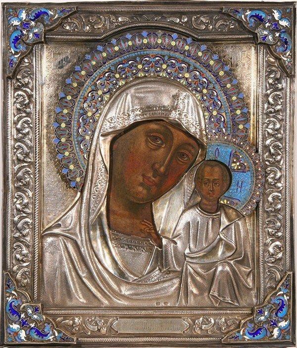 ANTIQUE RUSSIAN ENAMEL ICON KAZANSKAYA MOTHER OF GOD